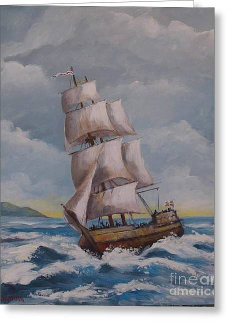 Vessel In The Sea Greeting Card