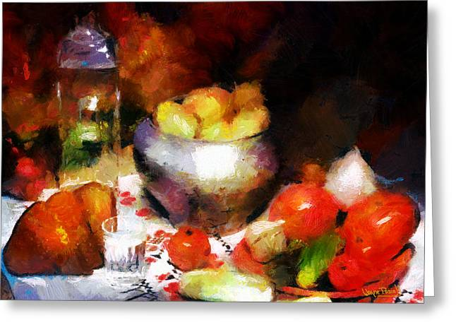 Greeting Card featuring the painting Vessels And Fruits by Wayne Pascall