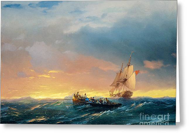 Vessels In A Swell At Sunset  Greeting Card