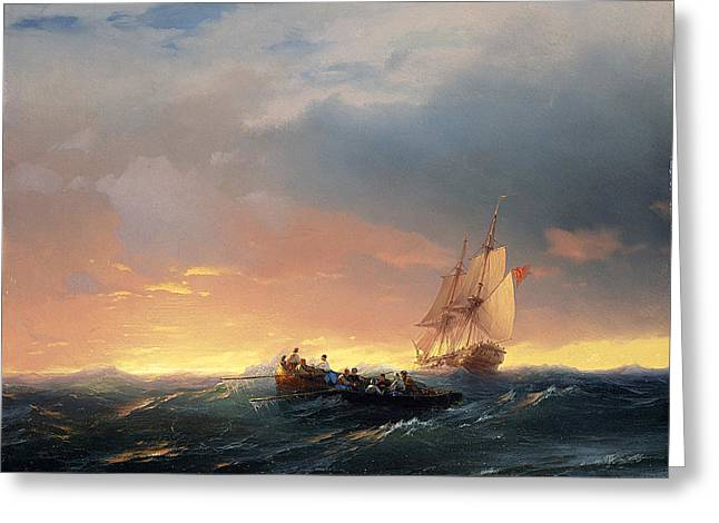 Vessels In A Swell At Sunset Greeting Card by Ivan Konstantinovich Aivazovsky