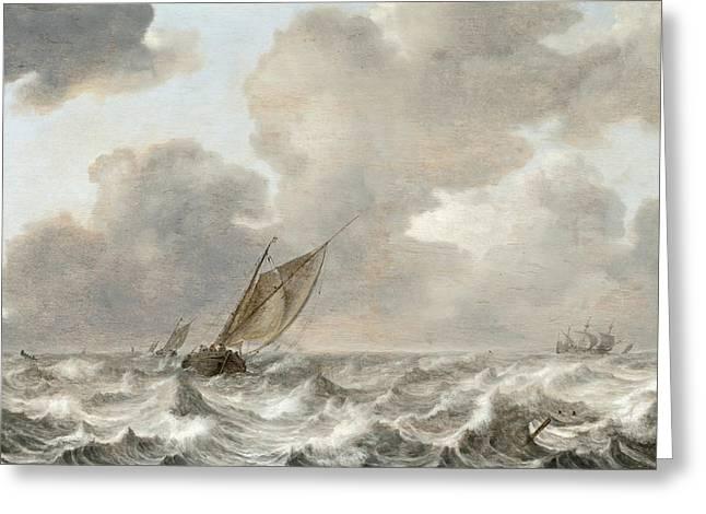 Vessels In Moderate Breeze Greeting Card