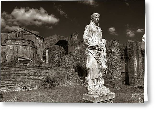 Vestal Virgin Courtyard Statue Greeting Card