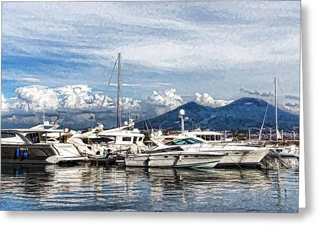 Vesuvius And Naples Harbor - Mediterranean Impressions Greeting Card by Georgia Mizuleva