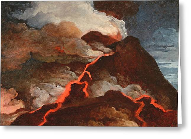 Vesuvius In Eruption, 1772 Greeting Card by Anicet-Charles Lemonnier