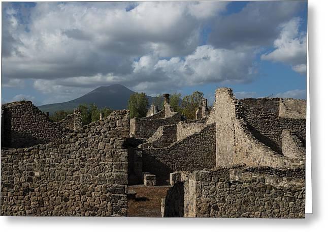 Vesuvius Towering Over The Pompeii Ruins Greeting Card