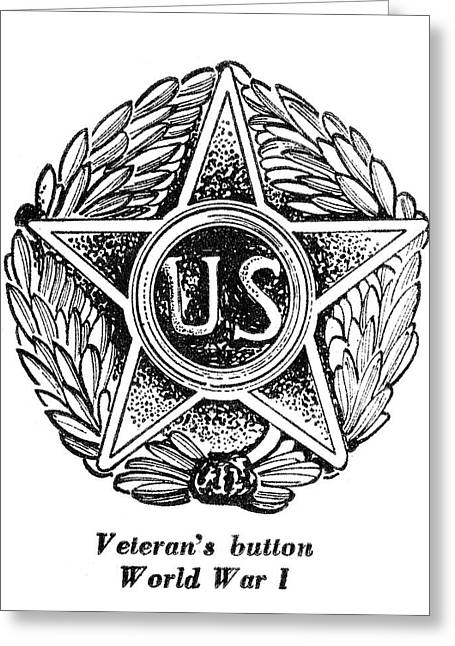 Veteran Button Greeting Card by Granger