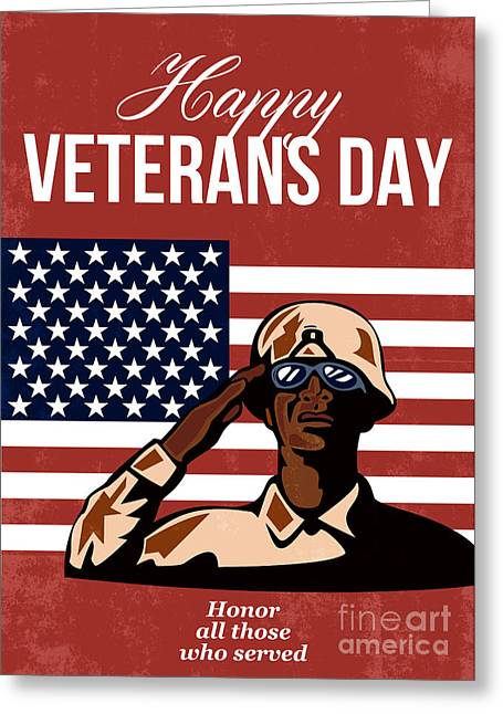 Veterans Day Greeting Card American Greeting Card by Aloysius Patrimonio