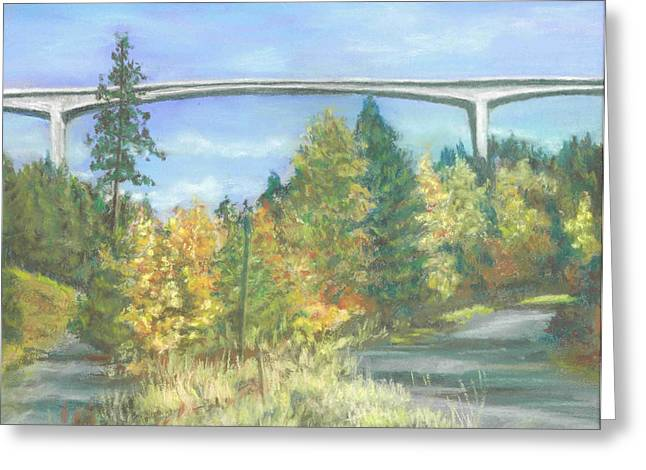 Veterans Memorial Bridge In Coeur D'alene Greeting Card by Harriett Masterson