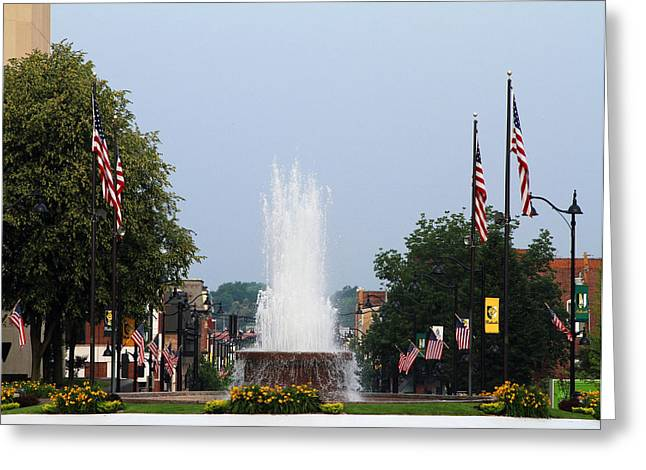 Veterans Memorial Fountain Belleville Illinois Greeting Card
