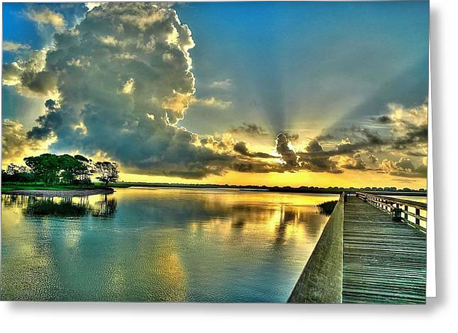Veterans Pier Sunrise Greeting Card by Ed Roberts