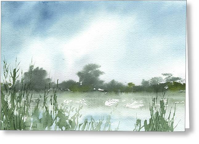 Greeting Card featuring the painting Vets Park Plein Air 7-17-13 by Sean Seal