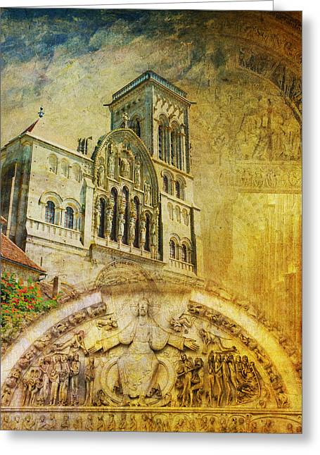 Vezelay Church And Hill Greeting Card by Catf