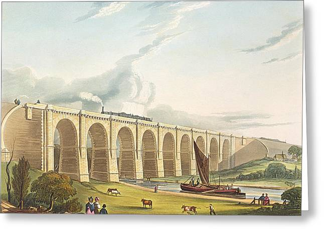 Viaduct Across The Sankey Valley, Plate Greeting Card