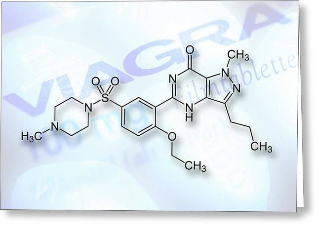 Viagra Drug Structure Formulae Greeting Card by Alfred Pasieka