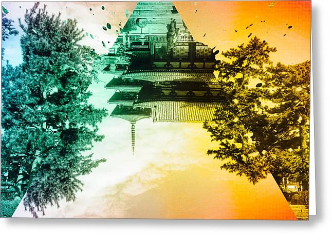 Vibrant Ancient Temple And Pagoda Greeting Card