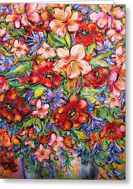 Vibrant Blooms Greeting Card by Natalie Holland