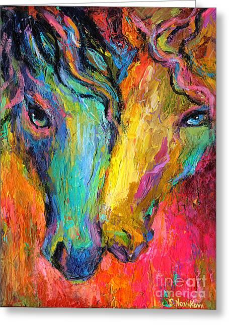 Vibrant Impressionistic Horses Painting Greeting Card by Svetlana Novikova