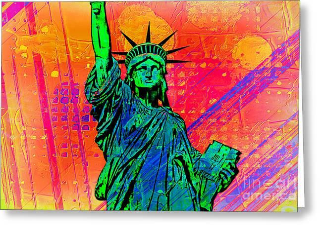 Vibrant Liberty Greeting Card by Az Jackson