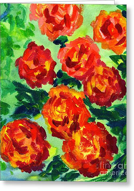 Vibrant Orange Peonies With Green Leaves Greeting Card by Beverly Claire Kaiya