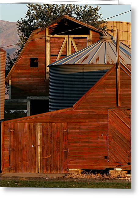Vibrant Red Barn And Out-buildings Greeting Card by Kirk Strickland