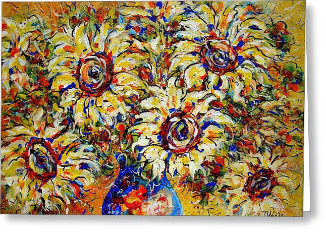 Greeting Card featuring the painting Vibrant Sunflower Essence by Natalie Holland