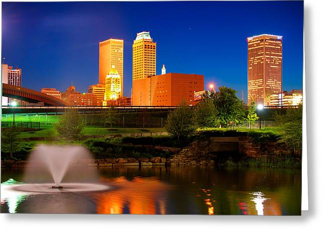 Vibrant Tulsa Skyline Greeting Card by Gregory Ballos
