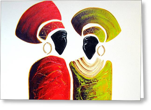 Vibrant Zulu Ladies - Original Artwork Greeting Card