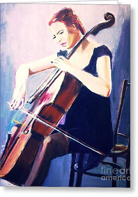 Vibrato In Blue Greeting Card by Judy Kay