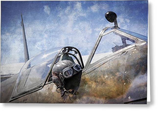 Vickers Spitfire Pilot Cap And Goggles Greeting Card