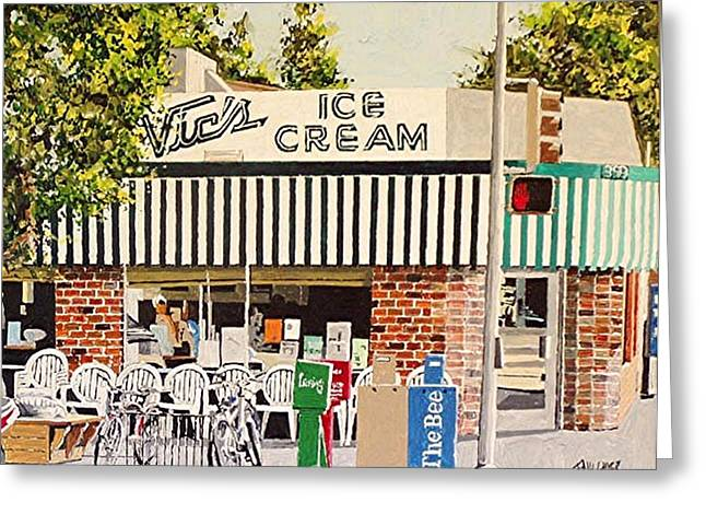 Vic's Ice Cream Greeting Card by Paul Guyer
