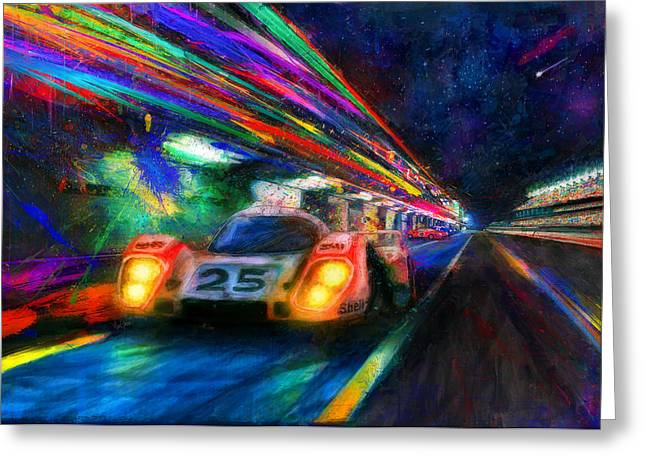 Vic's Night Out Greeting Card by Alan Greene