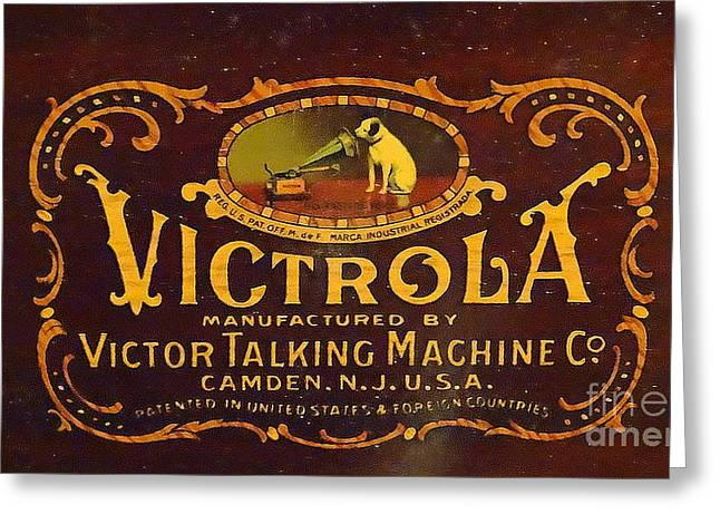 Victor Victrola Label Greeting Card by J L Zarek