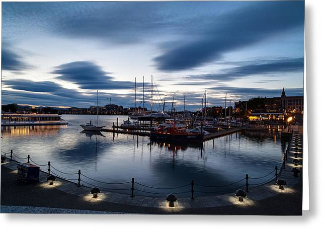 Victoria Harbor Nightscapes Greeting Card by Mike Reid