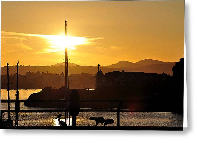 Greeting Card featuring the digital art Victoria Harbor Sunset 1 by Kirt Tisdale