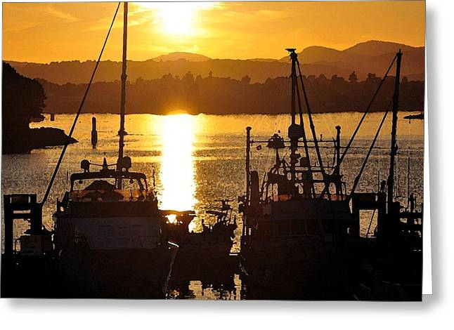Greeting Card featuring the digital art Victoria Harbor Sunset 2 by Kirt Tisdale