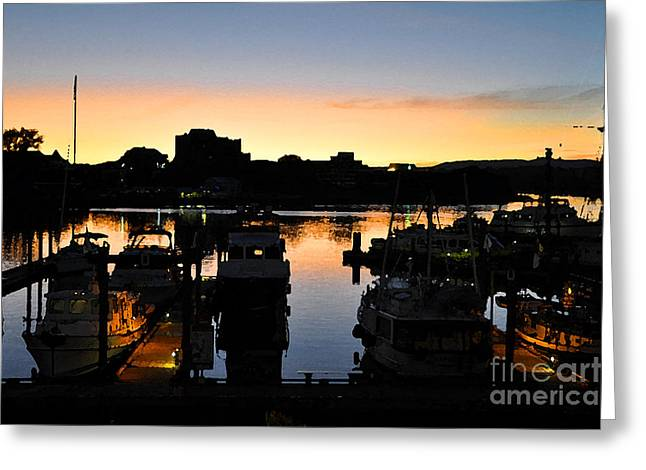 Greeting Card featuring the digital art Victoria Harbor Sunset 3 by Kirt Tisdale