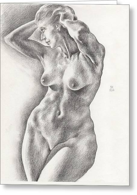Victoria In 8b Standing Female Nude Greeting Card by Scott Kirkman