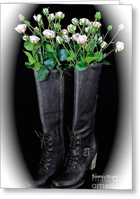 Victorian Black Boots Greeting Card