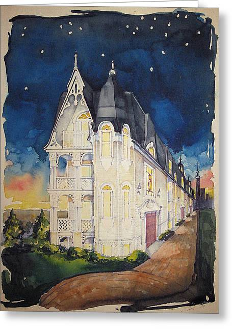 The Victorian Apartment Building By Rjfxx. Original Watercolor Painting. Greeting Card