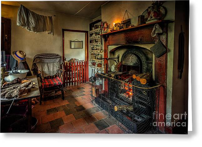 Victorian Fire Place Greeting Card by Adrian Evans