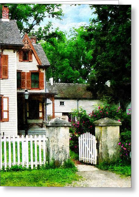 Victorian Home With Open Gate Greeting Card by Susan Savad