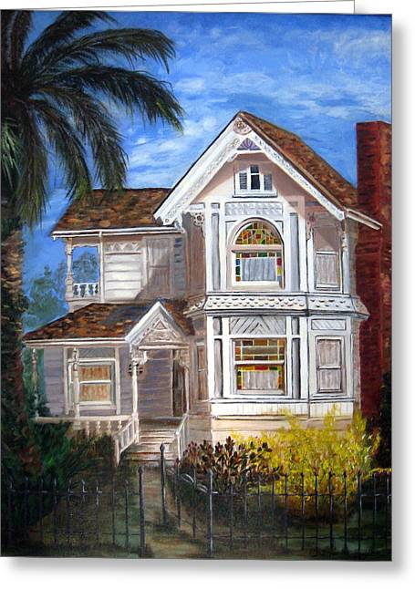 Greeting Card featuring the painting Victorian House by LaVonne Hand