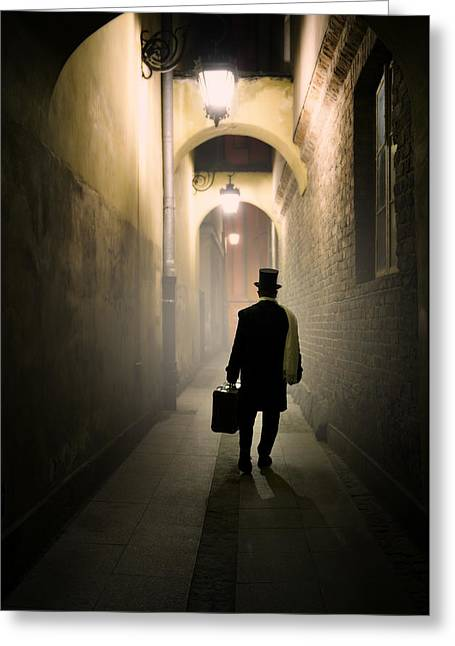 Victorian Man With Top Hat Carrying A Suitcase In The Alley Greeting Card by Jaroslaw Blaminsky