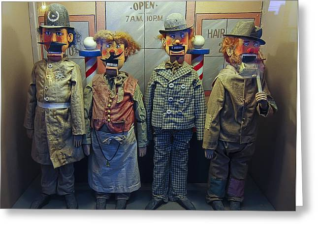 Victorian Musee Mecanique Automated Puppets - San Francisco Greeting Card by Daniel Hagerman