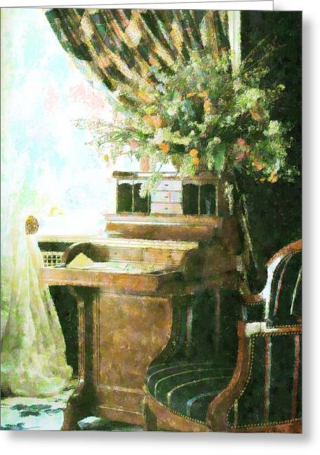 victorian Study Greeting Card by Florene Welebny