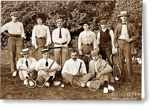 Victorian Tennis Players England Greeting Card