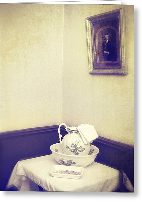 Victorian Wash Basin And Jug Greeting Card by Amanda Elwell