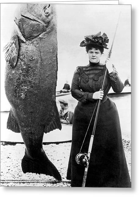 Victorian Woman With Her Bass Greeting Card by Underwood Archives