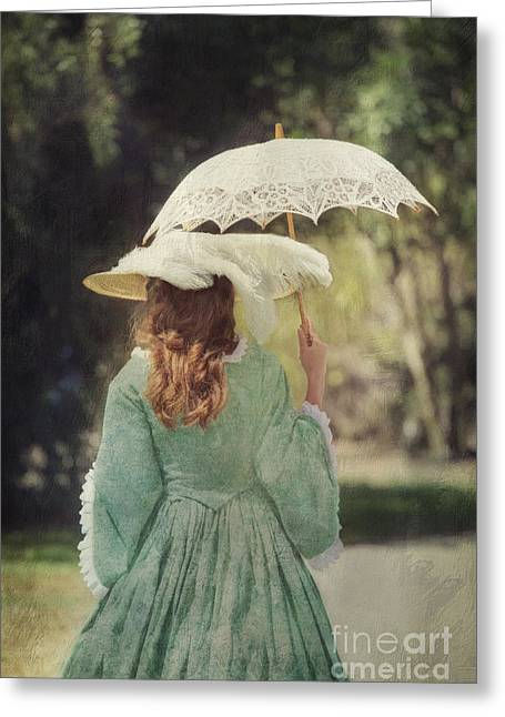 Victorian Woman With Parasol I Greeting Card by Susan Gary