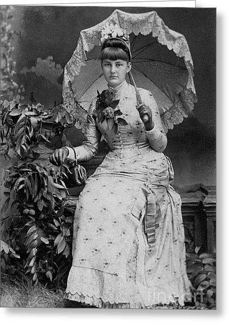 Victorian Women With Umbrella Greeting Card by Lyric Lucas